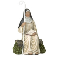 "St Monica 4in Figure. St Monica figure stands 4""H and is made of resin. St Monica is the mother of St Augustine and the Patron Saint of Wives and Abuse Victims.  Feastday: August 27th"