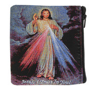"Hand woven Divine Mercy rosary case. the Divine Mercy image is depicted on bot sides of pouch.  This cloth rosary pouch has a zipper closure. Measures 3.5"" x 3""."