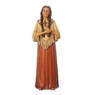 "This 6"" St. Kateri Tekakwitha Figure is made of a resin stone mix. St. Kateri is the Patron Saint of the environment and ecology"