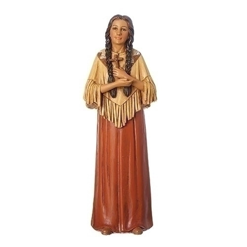 """This 6"""" St. Kateri Tekakwitha Figure is made of a resin stone mix. St. Kateri is the Patron Saint of the environment and ecology"""