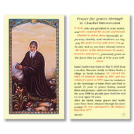 "St Charbel Laminated holy card. Size: 2-5/8 x 4-3/8"" H  Saint Charbel was born on May 8, 1828 from a modest Maronite family in Bekaa Kafra, a village in North Lebanon. He entered the order of Lebanese monks in 1851 and was ordained a priest in 1859. Later he withdrew to the hermitage of Saints Peter and Paul to spend 23 years in prayer, fasting, manual labor, and penance, until on Christmas eve of the year 1898 he piously gave back his soul to God. Aged 70 years. After his death, many graces and bodily cures have been obtained through his intercession. He was canonized by His Holiness Paul VI in 1977."