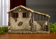 """Image of the Lighted Stable for the 11-piece Deluxe Three Kings Real Life 14"""" Nativity Set sold by St. Jude Shop."""