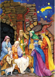 "This Traditional Nativity Scene Advent calendar will help prepare your children for Christmas.This Advent calendar is accented with glitter, making the detailed illustration even more beautiful. Each of the 24 windows opens to reveal a special picture that illustrates the Bible verses printed inside the windows. These Bible verses help kids follow along with the story of the Nativity. This is a great way for kids to learn about Christmas and count down the days.  Advent Calendar Size is : 10"" x 13.75"" and is very easy to hang."