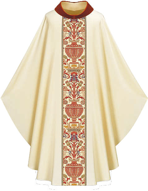 """In Dupion,fabric made of 70% man-made fibers and 30% viscose with Regina orphreys, a multi-colored brocade. Width 59"""", length 53"""". """" Chasuble comes with a Roll Collar.  Available in  green, beige, red, rose, and purple.  These items are imported from Europe. Please supply your Institution's Federal ID # as to avoid an import tax. Please allow 3-4 weeks for delivery if item is not in stock. Available in Beige (shown), Dark Red, Dark Green, Rose, and Purple"""