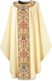 """Chasuble in Dupion fabric  (70% man-made fibres and 30% viscose), with Regina orphreys, a multi-colored brocade.  Width 150 cm  (59""""), length 135 cm (53"""").  Inside stole. Available colors: Beige, Dark Green and Red"""