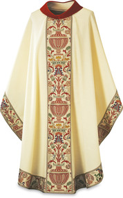 """Beige Chasuble in Dupion fabric (made of 70% man-made fibers and 30% viscose) with Regina orphreys, a multi-colored brocade. Width 59"""", length 53"""". """" Chasuble comes with a Roll Collar """"4"""".   Choose Regina brocade fabric:  white/red, white/green, white/purple or white/blue. These items are imported from Europe. Please supply your Institution's Federal ID # as to avoid an import tax. Please allow 3-4 weeks for delivery if item is not in stock."""