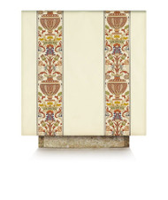 "Lectern or Ambo Cover is made in a Dupion fabric made of 70% man-made fibers and 30% viscose with Regina orphreys, a multi-colored brocade.  Available in  green, beige, red, rose, and purple. Altar cover; 36""W x 75L"" (90 x 190 cm), or custom-made.  Adorned with orphreys in Regina, a multi-coloured brocade, now available in following combinations white/red, white/green, white/purple or white/blue, trimmed with matching braid.  These items are imported from Europe. Please supply your Institution's Federal ID # as to avoid an import tax. Please allow 3-4 weeks for delivery if item is not in stock."