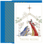"Contemporary Manger Christmas Cards, Boxed 18ct. 18-Count cards with gold foil embellishment. Inside verse, in blue printing: ""May the blessings from above shine on you with peace and love."" 18-Count foil lined envelopes. Cards are 4 x 6-inches. Cards can also be used as gift card holders, package labels, or to make holiday crafts"