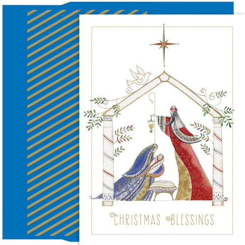 """Contemporary Manger Christmas Cards, Boxed 18ct. 18-Count cards with gold foil embellishment. Inside verse, in blue printing: """"May the blessings from above shine on you with peace and love."""" 18-Count foil lined envelopes. Cards are 4 x 6-inches. Cards can also be used as gift card holders, package labels, or to make holiday crafts"""