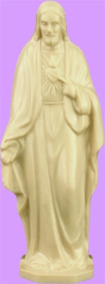 """4"""" Sacred Heart of Jesus Statue is carefully crafted and molded in vinyl with an exclusive process for years of lasting use."""