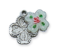 """Cloisonne Sterling Silver 4 way Cross Medal. Cloisonne Sterling Silver 4 way Cross Medal measures 1/2"""" and comes on an 18"""" rhodium chain. A deluxe gift box is included."""