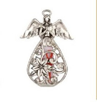 """Christmas Wish Angel. Silver Christmas Wish Angel measures  1 1/4"""" in height. Angel has a slender red thread going through it. The card is 1.5"""" wide x 2"""" tall."""