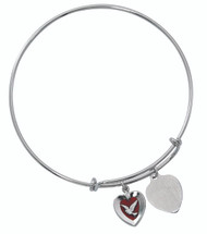 "Red Enameled Holy Spirit nad Heart Charms Bangle. This pewter 2 3/4"" diameter Holy Spirit Charm Bangle holds a Red Enamled Holy Spirit and a Heart charm. The heart charm can be engraved with 3 initials only for an additional cost."