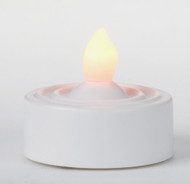 "White LED Tea Lights.  Made of Plastic. Dimensions: 1.25"" x  1.25. A CR2450 battery is included."
