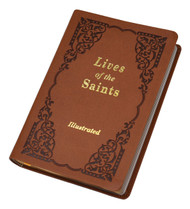 """Bestselling Lives of the Saints is now available in a Brown Duralux Cover.  This volume contains a new series of lives of saintly men and women for each day of the year-many of them newly canonized or beatified.  More than 60 illustrations. 528 pages ~  Dimensions are 4 1/4"""" X 6 3/8"""" ~ Brown Dura Lux Cover"""