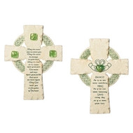 """Celtic Cross Faithstones with Verses. Dimensions: 6.5""""H x 5""""W x 1.25""""D. Resin/Stone Mix. Your choice of sayings: May the Road Rise Up to Meet You verse,  or DANCE as if no one were watching SING as if no one were  listening LIVE every day as if it were your last."""