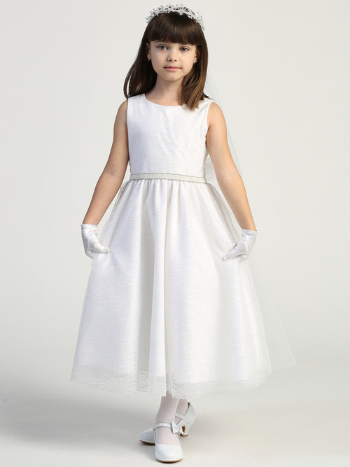 Glitter tulle dress with beaded trim on waist Tea-length Made in U.S.A. Accessories are sold separately