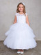 This First Holy Communion dress has an illusion neckline for additional style. Dress has a Lace Bodice with a Layered Tulle Skirt. The dress has a rear center zipper closure in the back  Sash Tie Back