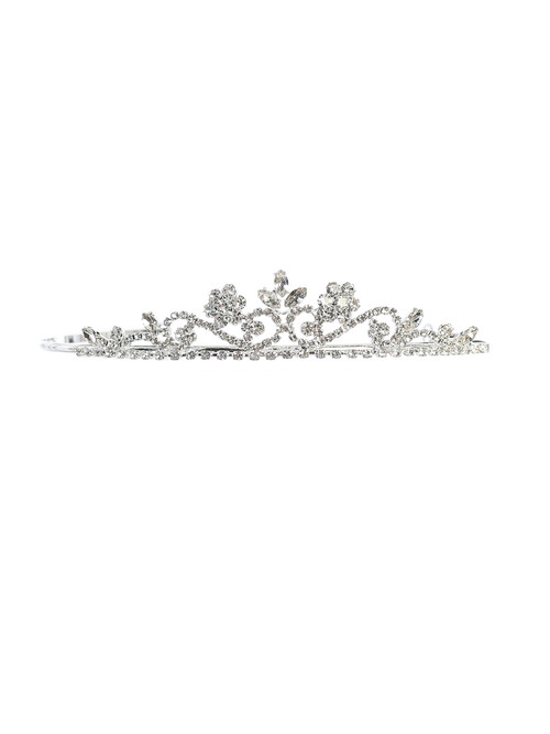 """Beautiful silver rhinestone tiara, 6.25"""" x 1.25"""". This tiara is the perfect accessory for that beautiful communion dress!"""