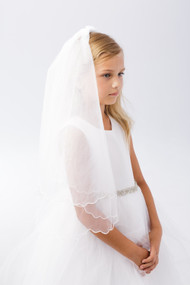 Communion Veil  with Scalloped Chord Edging