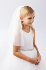Communion Veil with Tulle Edge and Scattered Pearls
