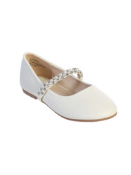 White Communion Leatherette Flats with Rhinestone and Pearl Strap