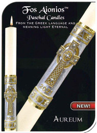 Aureum Paschal Candle  From the Greek language and meaning light Eternal. Ageless. Eternal. Timeless. Unending. Harking back to an era when tradition and symbolism were a cornerstone of fine craftsmanship, The Aureum Paschal Candle evokes a sense of quietly felt inspiration in both communicant and celebrant. Candle is made of 51% beeswax, which insures excellent burning qualities, the candle is fashioned entirely by hand from first step to last.  Hand Painted. Paschal Nails are included with Candle.. Matching side candles are also available. Made in the USA!!