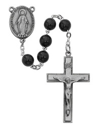 7mm round Black wood bead rosary. Rosary has a pewter Miraculous Medal center and crucifix