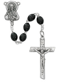 "4x6mm round Black wood bead rosary. Rosary has a silver ox Sacred Heart of Jesus center and crucifix. Rosary measures 19 1/4""."