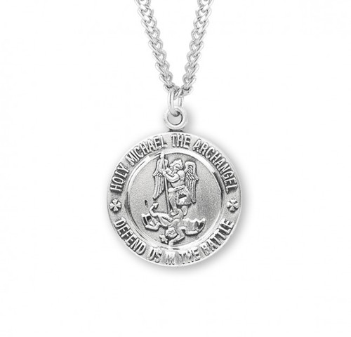 """Sterling silver 15/16"""" St. Michael Medal. Medal has St Michael depicted on the front and the back of the medal is the Caduceus symbol.  Sterling silver St. Michael Medal comes on a genuine rhodium-plated stainless steel 24""""chain.  A deluxe velour gift box is included"""