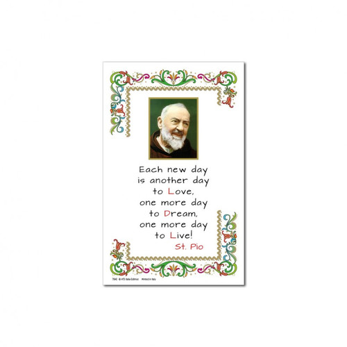 """Picture of Padre Pio on gold blocking print in parchment paper with text (Each new day is another day to love more...)of St. Padre Pio. Made in Italy. 8""""W x 11""""H"""