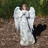 """13.25""""H Memorial Angel holding a Dove Statue.  STatue is made of a resin stone mix. Dimentions: 13.25""""H X 7.75""""W X 5.75""""L"""