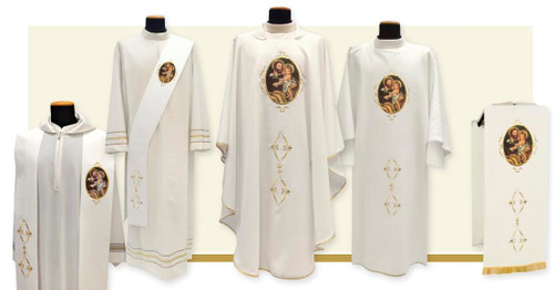 St Joseph  Clergy Apparel.  On the anniversary of the celebration of the 150th Anniversary of the Proclamation of St Joseph, Patron of the Universal Church. Made of 100% polyester Primavera fabric. Choose Chasuble, Dalmatic, Priest Overlay Stole, Deacon Stole and Lectern Cover. All items are embroidered with printed image.
