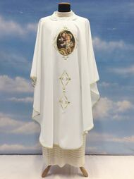 Chasuble  St Joseph  Clergy Apparel.  On the anniversary of the celebration of the 150th Anniversary of the Proclamation of St Joseph, Patron of the Universal Church. Made of 100% polyester Primavera fabric. Choose Chasuble, Dalmatic, Priest Overlay Stole, Deacon Stole and Lectern Cover. All items are embroidered with printed image.