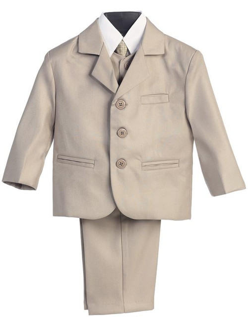 Khaki Suit-This high quality five piece Khaki communion suit is an incredible buy!  Set includes jacket, pants, vest, dress shirt and adjustable tie. This high quality five piece Khaki communion suit is an incredible buy!  Set includes jacket, pants, vest, dress shirt and adjustable tie. Not available in Husky sizes!