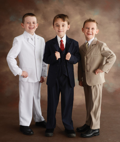 These high quality five piece Communion suits are an incredible buy!  Set includes jacket, pants, vest, dress shirt and adjustable tie. Regular and Husky Sizes available in colors: Navy, Khaki, Black and White. *****NOTE:  Khaki IS NOT AVAILABLE IN HUSKY SIZE