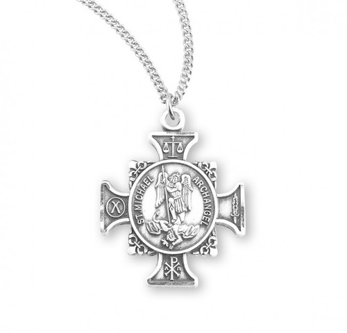 """St. Michael Sterling Silver Maltese Cross Pendant. Dimensions: 0.9"""" x 0.8"""" (24mm x 21mm). Weight of medal: 3.1 Grams.  St Michael Maltese Cross Pendant  comes on an 18"""" genuine rhodium plated curb chain.  Presents in a deluxe velour gift box. Engraving available at an additional cost"""