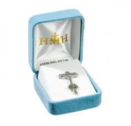"""Baby Irish Celtic Cross Pendant on Godchild Bar Pin Solid .925 sterling silver or Gold over Sterling Dimensions: 1.0"""" x 0.7"""" (25mm x 17mm) Weight of medal: 0.6 Grams. Made in USA. Deluxe velvet gift box."""