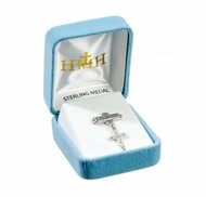 """Baby Crucifix Pendant on Godchild Bar Pin Solid .925 sterling silver pendant. Dimensions: 1.2"""" x 0.7"""" (30mm x 17mm) Weight of medal: 0.5 Grams. Made in USA. Deluxe velvet gift box."""