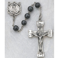 Sterling Silver 6mm Genuine Hematite Rosary.Sterling Center and Crucifix. Deluxe Gift Box Included