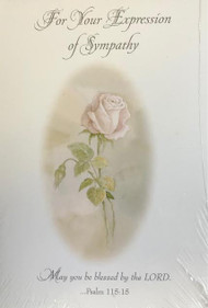 """Sympathy Acknowledgement Cards come 8 to a pack.  Inside of Card reads:  """"Thank you for your support during this difficult time. Your thoughts, prayers and words of sympathy will always be remembered."""" Cards measure 4"""" x 6"""" and include envelopes."""