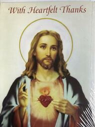 """Sympathy Acknowledgement Cards come 8 to a pack.  Sacred Heart of Jesus is depicted on the front of the card. Inside of Card reads:  """"The blessing of your thoughtfulness will be long remembered."""" Cards measure 4"""" x 6"""" and include envelopes."""
