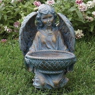 "Bronze Angel with Basket Garden Statue. The Bronze Angel with Basket Garden Statue stand 13.75""H. The statues is made of  a resin stone mix."