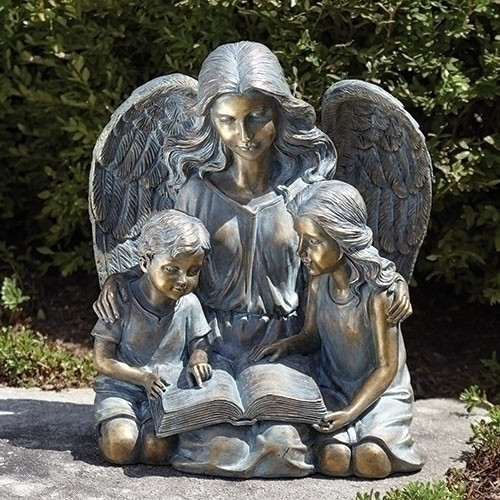 """15.5""""H Garden Angel with Kids Reading Book/Bible Statue. Reading Garden Angel statue is made of a resin/stone mix and is created in a bronze finish..  Weight: Approx. 10lbs"""