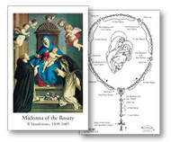 "Madonna of the Rosary Holy Card Dimensions: 2 3/4"" x 4 1/4"" Sold individually or 100 per box How to Prayer the Rosary Instructions preprinted on back"
