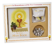 "808/56G - This Classic Boxed Set for girls or boys contains a My First Eucharist Edition First Mass Book, laminated scapular, deluxe chain rosary, enamel pin, and a deluxe vinyl rosary case. Hardcover Book measures 4"" x 6 1/4""."