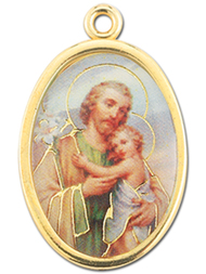 "7/8"" Enameled Oval ST Joseph with Child Picture Medal with Gold Highlights."