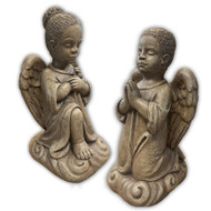 "African American Cement Outdoor Statue.  Praying Children Angel ~ Boy or Girl  Meausurements:   H: 13.50"", BW: 6"" BL: 7"", Wt: 15 lbs. Wingspan is 8"" Handcrafted and made to order...Allow 4-6 weeks for delivery.  Made in the USA.  Boy:  1304  Girl: 1311"