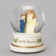 "Musical Jesus with Boy or Girl Child on first Holy Communion Musical Globe. Musical Globe plays ""The Lord's Prayer"". Dimensions of the First Communion Boy or Girl Musical Globe are: 5.5""H x  4""W x 4""D. Globe is made of Resin, glass, meal and water and comes gift boxed. A wonderful remembrance for the child making their First Holy Communion"