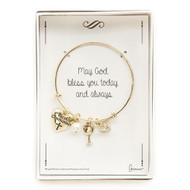 """Gold Communion Braclet measures 2.25""""D. The braclet has a First Holy Communion Heart charm, a Chalice charm, a white pearl and a smaller heart charm. This bracelet will be a perfect addition to any communion dress!  Comes boxed with written words """"May  God bless you today adn always."""""""